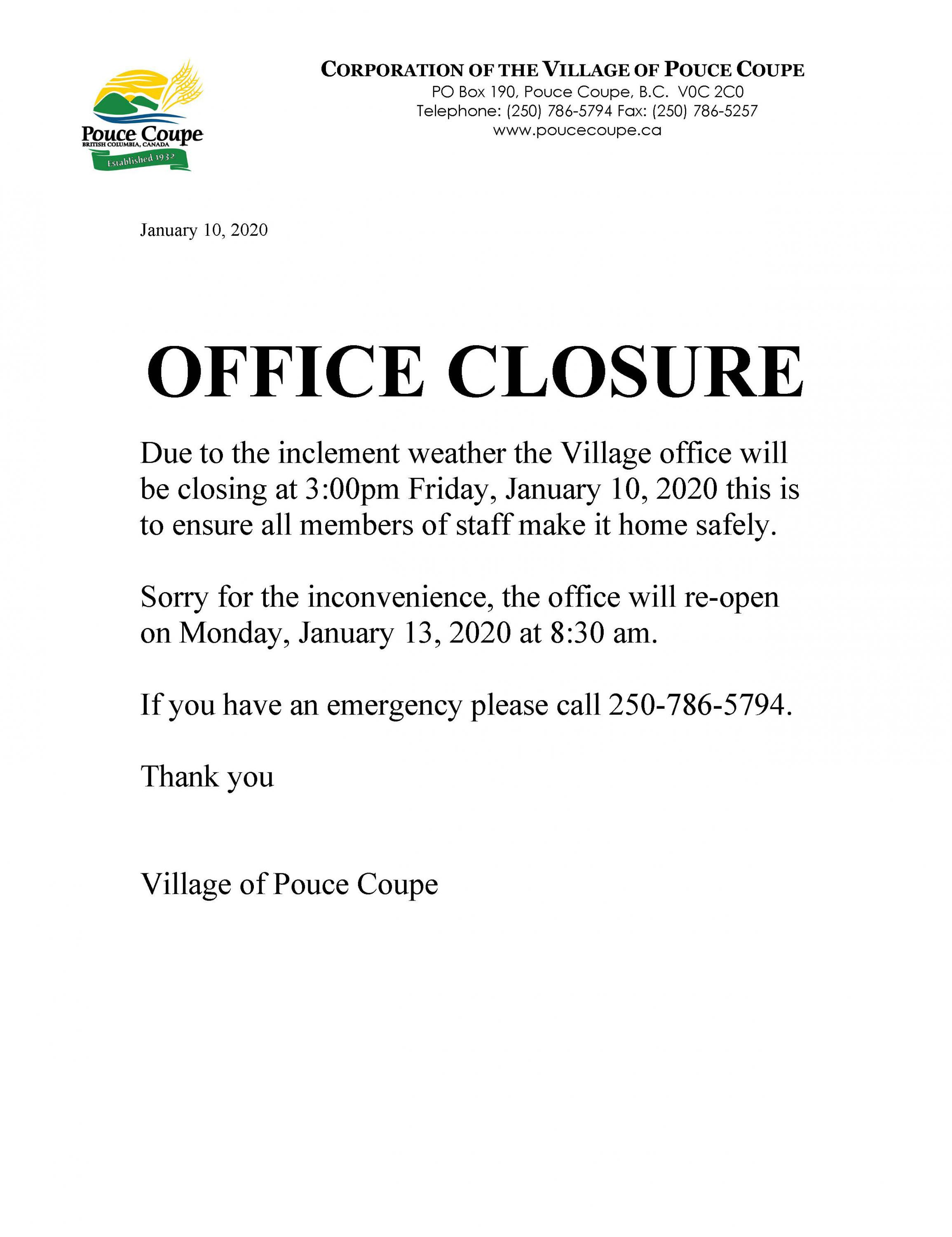 Snow Closure Friday January 10, 2020